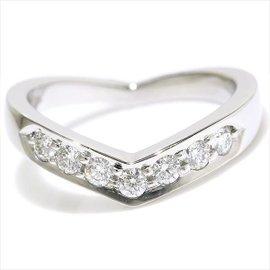 Tiffany & Co. 950 Platinum Diamond V Band Ring Size 7