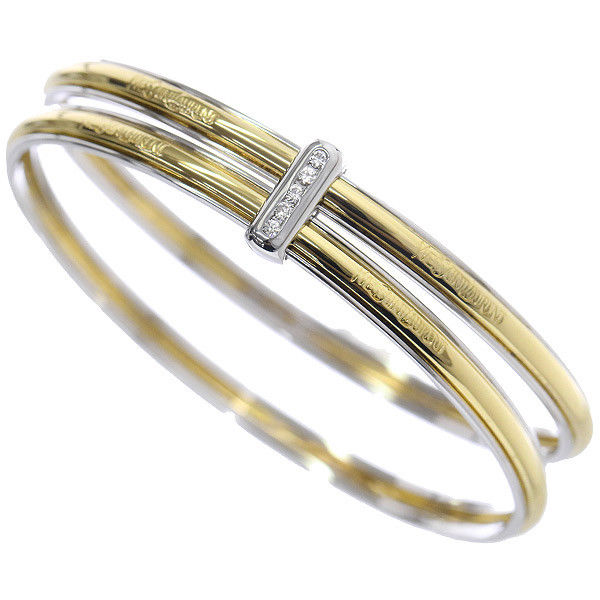 "Image of ""Yves Saint Laurent 18K White & Yellow Gold Diamond Bangle Bracelet"""