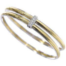 Yves Saint Laurent 18K White & Yellow Gold Diamond Bangle Bracelet