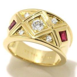 Christian Dior 18K Yellow Gold Diamond Ruby Ring Size 6.75