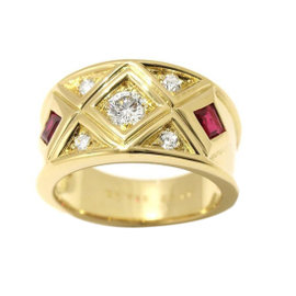 Christian Dior 18K Yellow Gold Diamond Ruby Ring Size 6.75