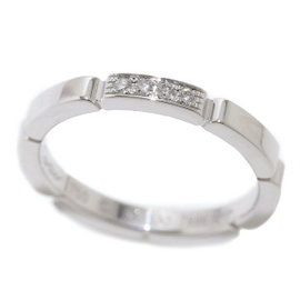 Cartier Maillon Panthere 18K White Gold Diamond Ring Size 6.25