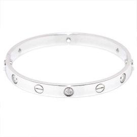 Cartier Love 18K White Gold Diamond Bracelet Size 16