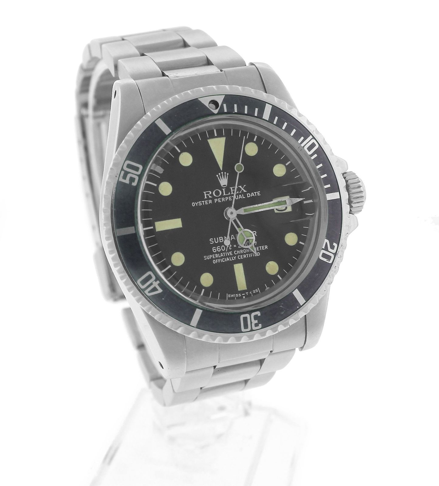 "Image of ""Rolex Submariner Date 1680 Stainless Steel Matte Black 40mm Mens Dive"""
