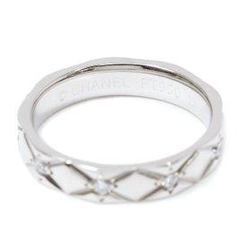 Chanel Matelasse Platinum PT950 Diamond Ring Size 4.0