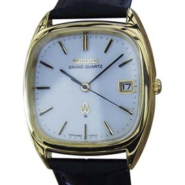 Seiko Grand Gold Plated and Stainless Steel Quartz 34mm Mens Watch 1980