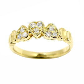 Christian Dior 18K Yellow Gold Diamond Ring Size 5.5