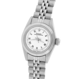 Rolex Oyster Perpetual 67180 Stainless Steel White Roman 24mm Womens Watch