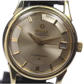 Omega Constellation Gold Plated Stainless Steel / Leather 34mm Mens Watch