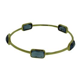Ippolita Rock & Candy 18K Yellow Gold with London Blue Topaz Bangle Bracelet