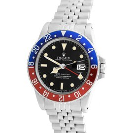 Rolex GMT-Master II 16750 Stainless Steel Pepsi Blue Red 40mm Mens Watch 1984