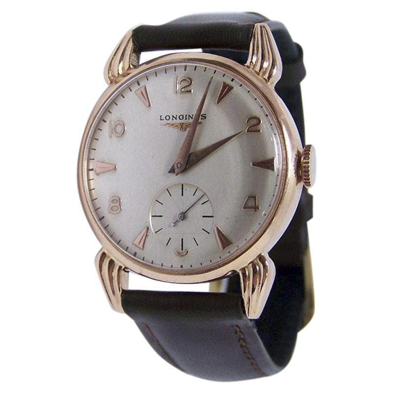 "Image of ""Longines 14K Rose Gold Vintage 33mm Mens Watch 1950s"""