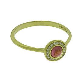 Ippolita 18K Yellow Gold with Diamond and Pink Tourmaline Mini Lollipop Ring Size 7