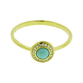 Ippolita 18K Yellow Gold with Diamonds and Turquoise Mini Lollipop Ring Size 7