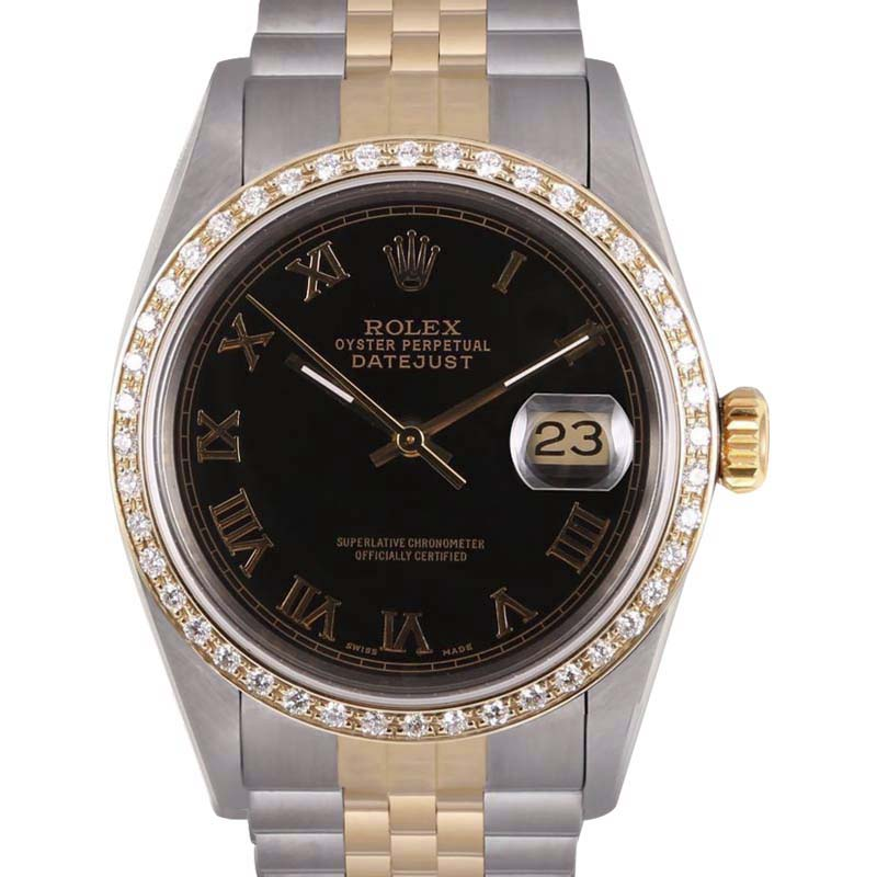 """Image of """"Rolex Datejust 18K Yellow Gold/Stainless Steel Black Roman Dial"""""""