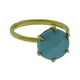 Ippolita 18K Yellow Gold with Turquoise Rock Candy Ring Size 6