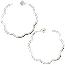 Chanel Camellia 18K White Gold Hoop Earrings