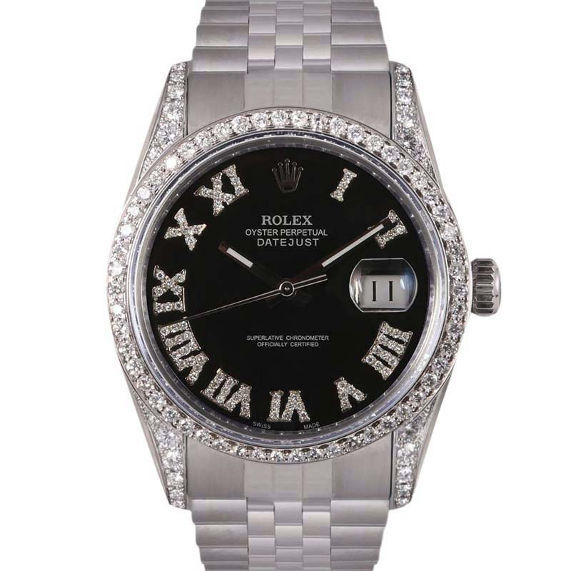 """Image of """"Rolex Datejust Stainless Steel Black Dial wDiamonds Automatic 36mm"""""""
