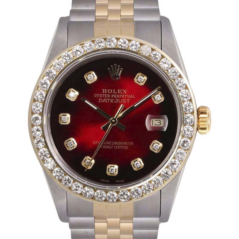 "Image of ""Rolex Datejust Stainless Steel/18K Yellow Gold Red Dial wDiamonds 36mm"""