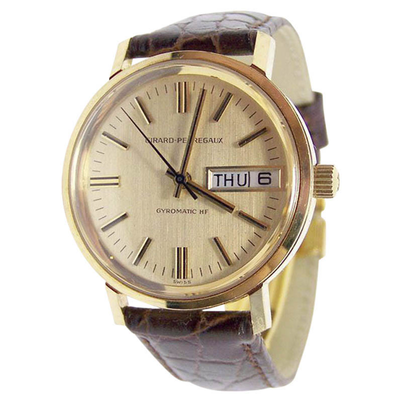 "Image of ""Girard Perregaux 18K Yellow Gold / Leather Vintage 34.2mm Mens Watch"""