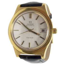 Omega Geneve Yellow Gold Plated Automatic Vintage 36.3mm Mens Watch 1970s