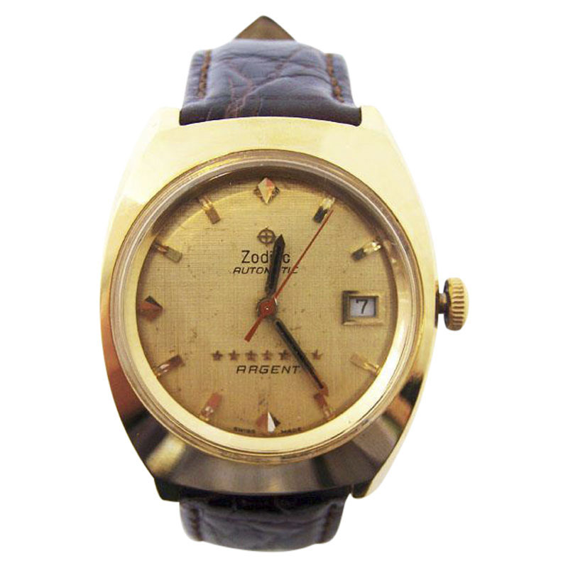 "Image of ""Zodiac 7 Star Argent 18K Yellow Gold Vintage 37mm Mens Watch"""