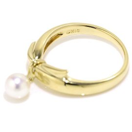 Mikimoto 18K Yellow Gold & Akoya Pearl Ring Size 4.5-4.75