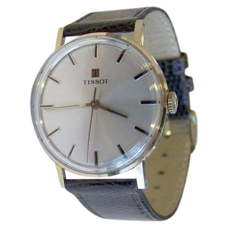 "Image of ""Tissot 14K Rose Gold / Leather Vintage 33.5mm Mens Watch"""