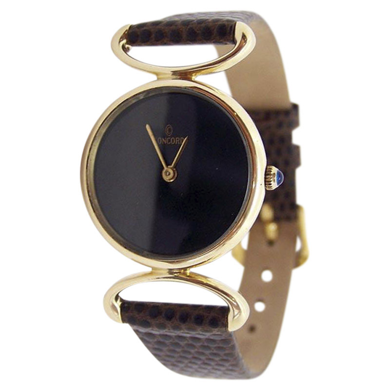 "Image of ""Concord 14K Yellow Gold / Leather Vintage 24.5mm Womens Watch"""