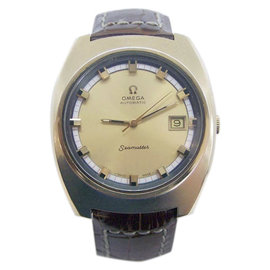 Omega Seamaster Yellow Gold / Leather Vintage 39mm Mens Watch