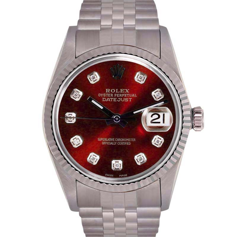 """Image of """"Rolex Datejust Stainless Steel/18K White Gold Red Diamond Dial"""""""