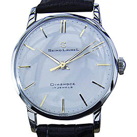 Seiko Laurel Stainless Steel & Leather Manual Vintage 33mm Mens Watch 1960s