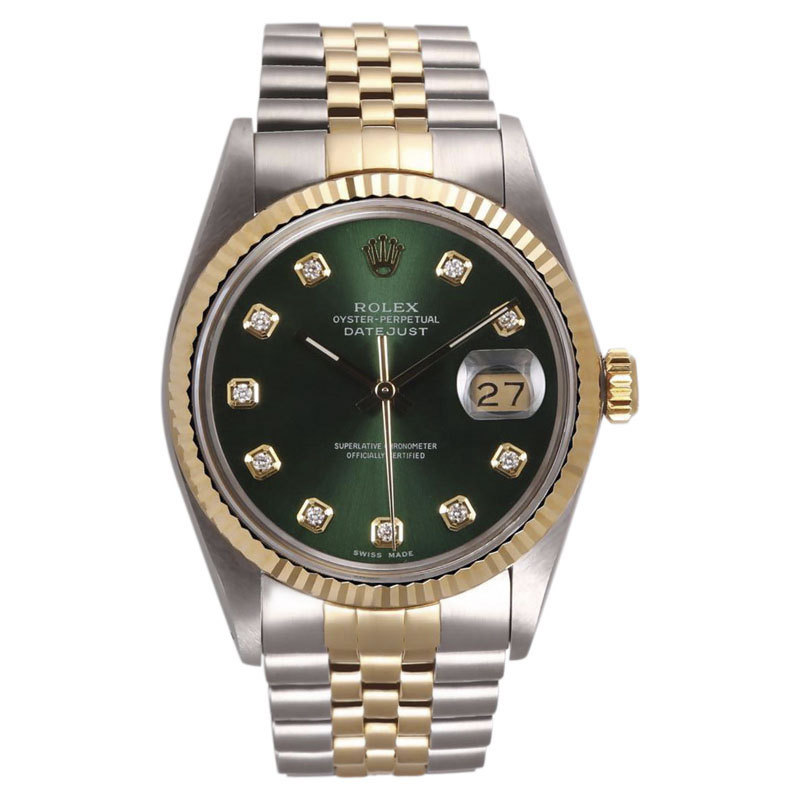 """Image of """"Rolex Datejust Stainless Steel & 18K Yellow Gold Green Diamond Dial"""""""