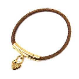 Hermes Vivilide Leather Heart Cadena Bracelet