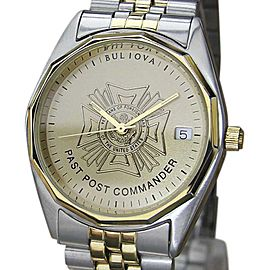 Bulova Past Post Commander Stainless Steel Quartz 35mm Mens Watch 1980s