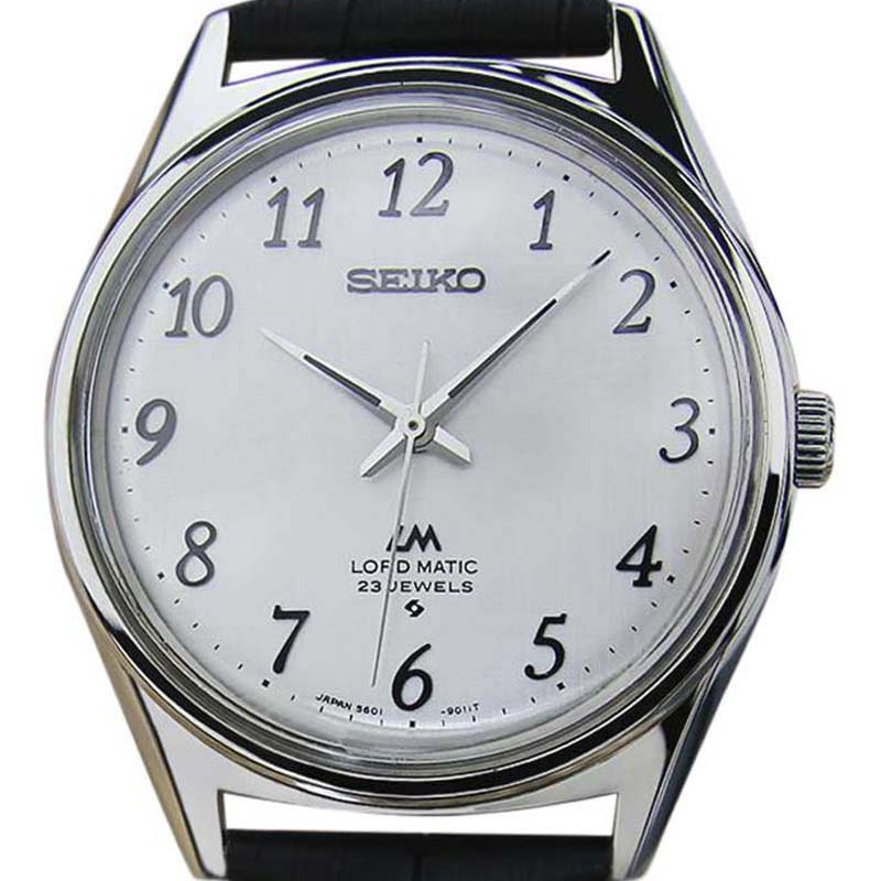 """Image of """"Seiko Lord Matic 5601 9000 Stainless Steel & Leather Silver Dial"""""""