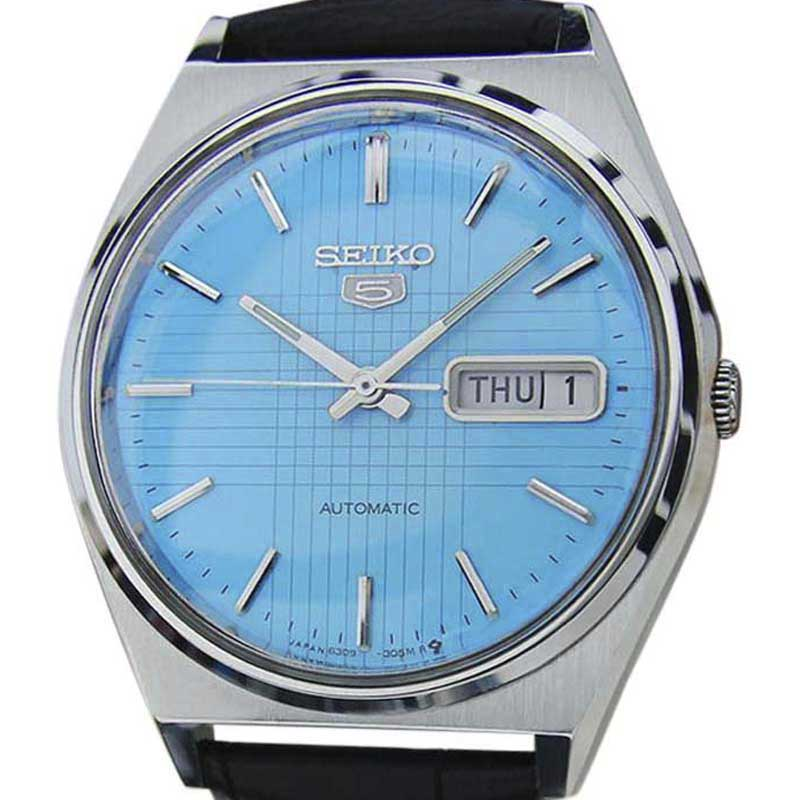 """Image of """"Seiko 5 6309 8940 Stainless Steel & Leather Automatic Vintage 36mm"""""""