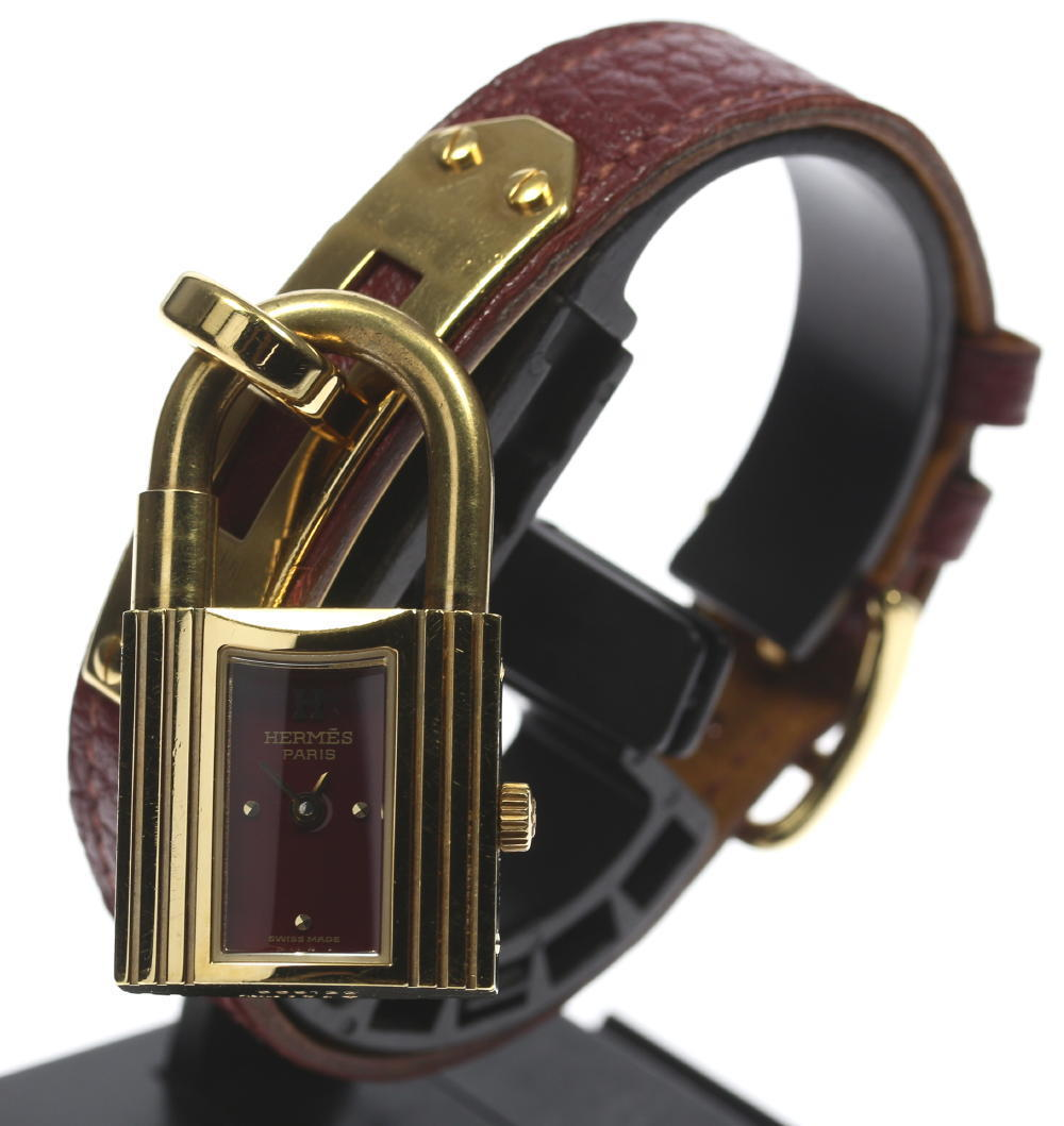 "Image of ""Hermes Kelly Gold Plated/Stainless Steel Gold Wine-Red Dial Leather"""