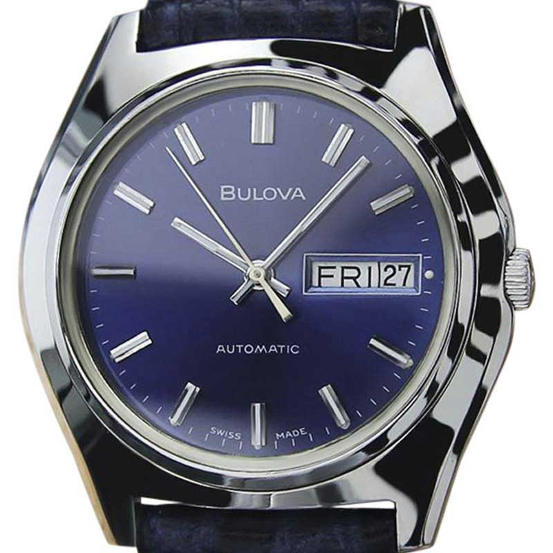 """Image of """"Bulova N8 Stainless Steel & Leather Automatic Vintage 36mm Mens Watch"""""""