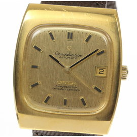 Omega Constellation Automatic Stainless Steel / Gold Plated & Leather 33mm Mens Vintage Watch