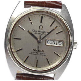 Omega Constellation Stainless Steel / Leather Automatic 34.5mm Vintage Mens Watch