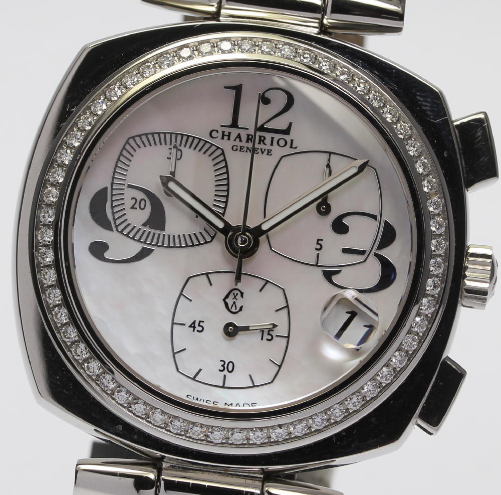 """Image of """"Philippe Charriol Geneve Alexcxl Stainless Steel & Leather with"""""""