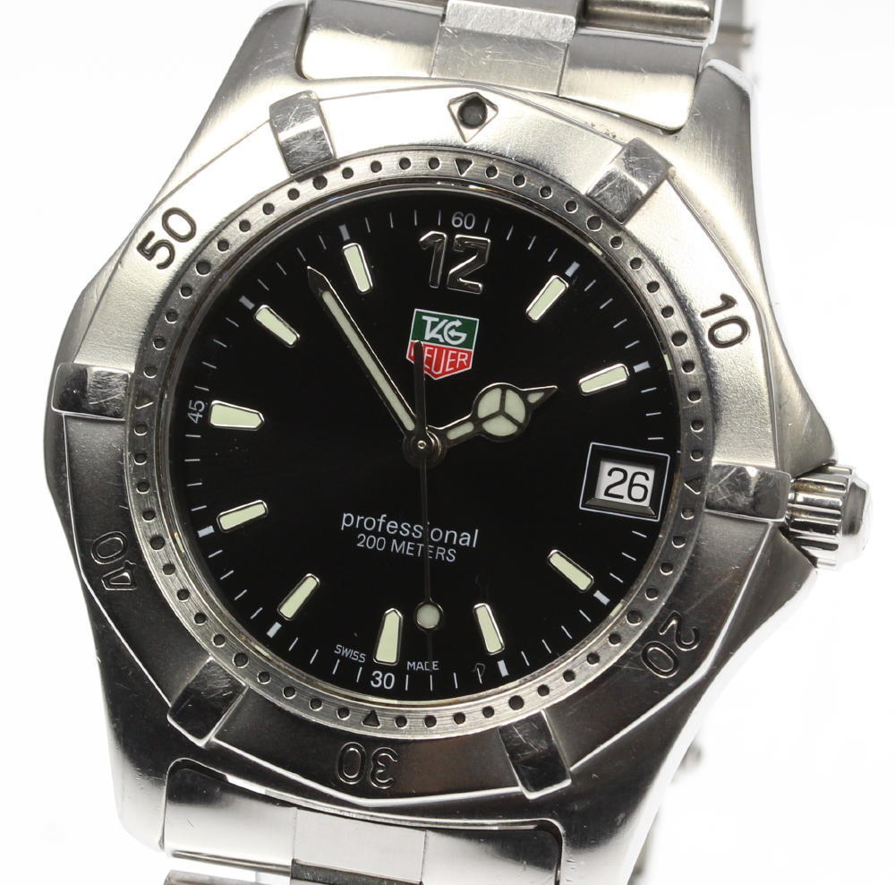 """Image of """"Tag Heuer Professional Wk1110-1 Stainless Steel Quartz 39mm Mens Watch"""""""