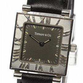 Tiffany & Co. Atlas Stainless Steel / Leather Quartz 23mm Womens Watch