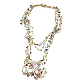 Marco Bicego 18K Yellow Gold 5 Strand Multicolored Stone Paradise Necklace