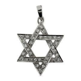 14K White Gold with 0.65ct Diamond Jewish Star Pendant
