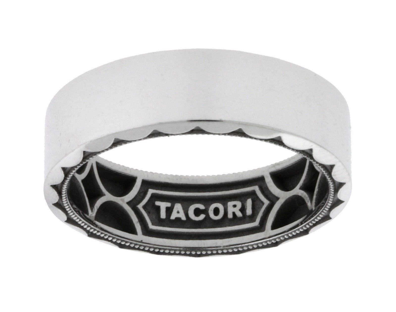 "Image of ""Tacori 18K White Gold Sculpted Crescent Wedding Band Ring Size 10.25"""