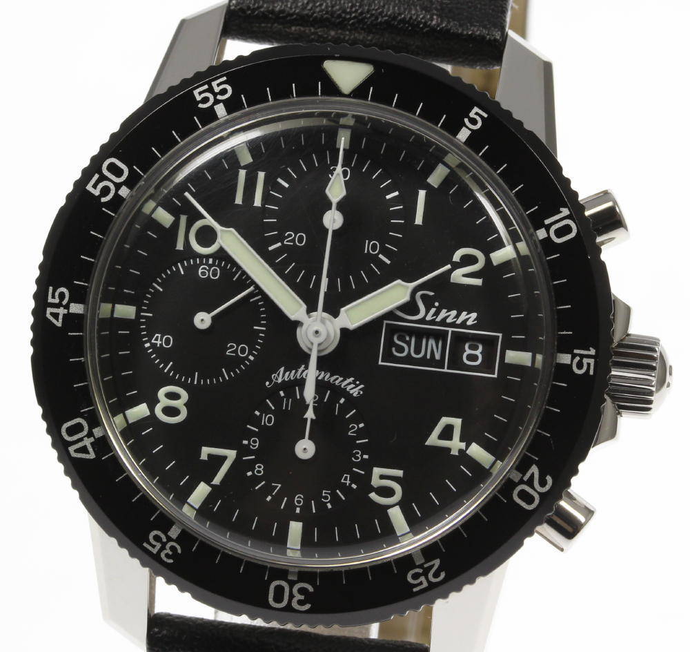 "Image of ""Sinn 103.b. Stainless Steel & Leather Automatic 41mm Mens Watch"""