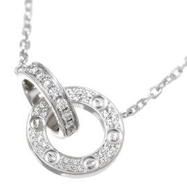 Cartier Love 18K White Gold Pave Diamond Necklace