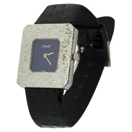 Piaget Classique 18K White & Leather Lapis 25mm x 27mm Watch